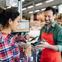 Paying for groceries using contactless payment option