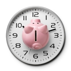 Piggy bank on clock