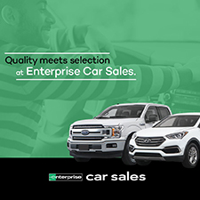 Pickup truck and car with text: Quality meets selection at Enterprise Car Sales